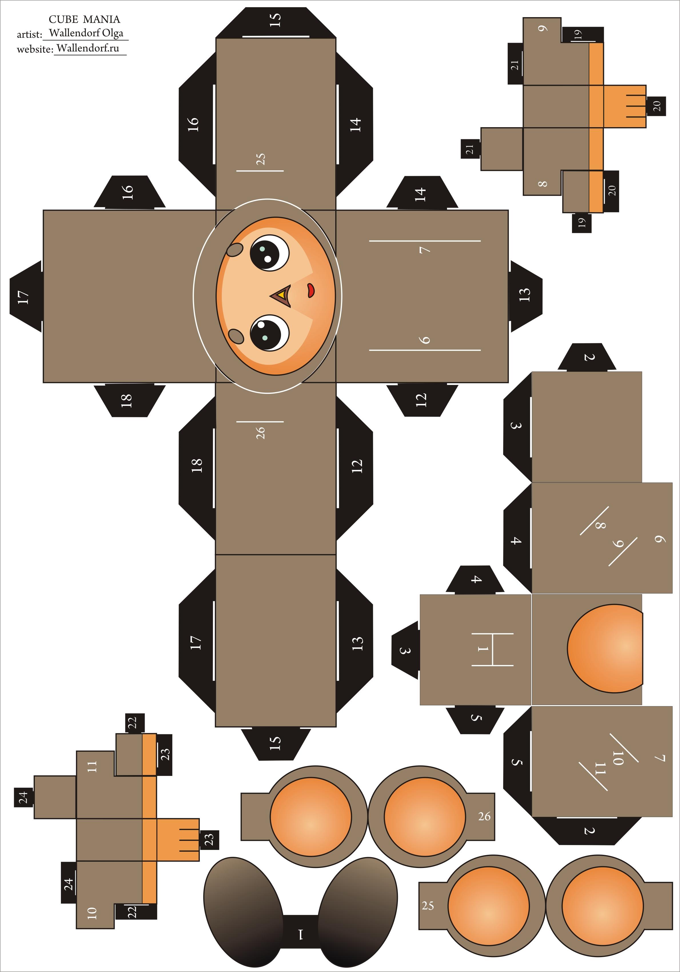 Поделка из картона чебурашка